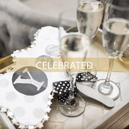 Image of Champagne Flutes and Bridal Pillow on tray