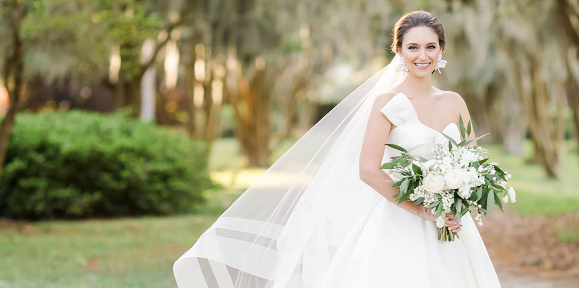 Image of Bride with Tree Canopy behind