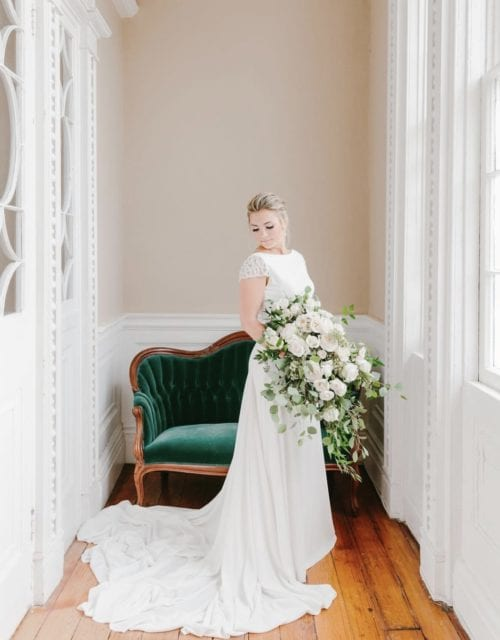 Real Bride in Simple Wedding Dress from Gown Boutique of Charleston